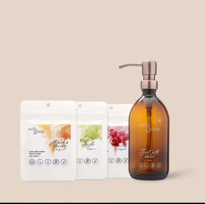 Handwasch-TRIO + britische Glasflasche mit bronzierter Pumpe