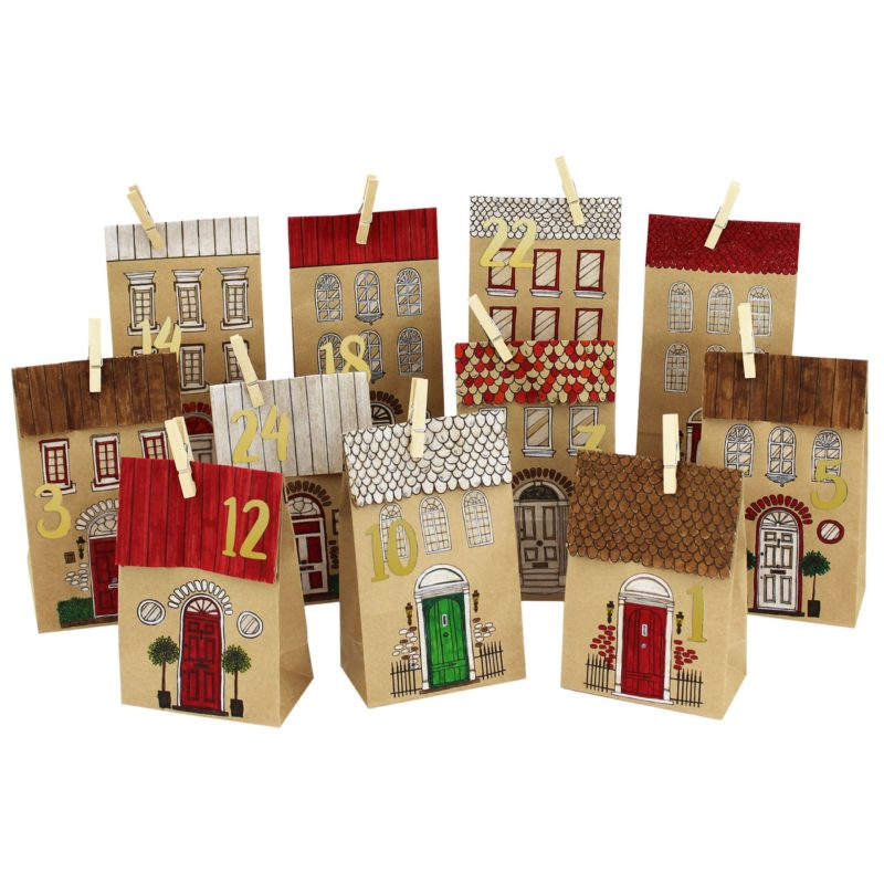 24 printed advent calendar bags - houses for coloring