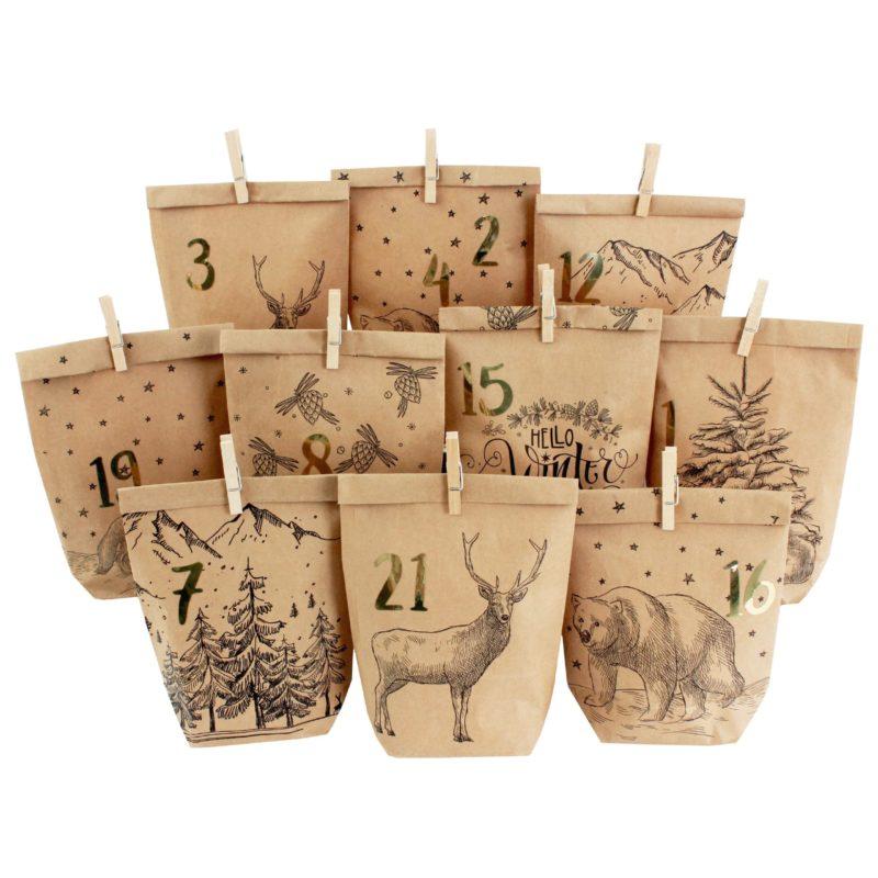 Advent calendar - printed gift bags - Cozy Winter black
