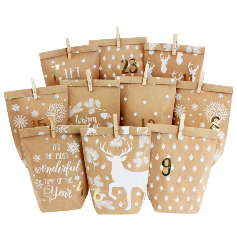 Advent calendar - printed gift bags - Cozy Winter white