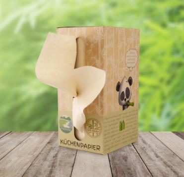 Bambus Küchenpapier aus der Box (200 Blatt je Box)
